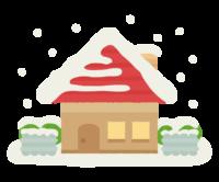 雪の積もった平屋