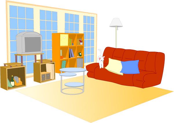 赤いソファのインテリア