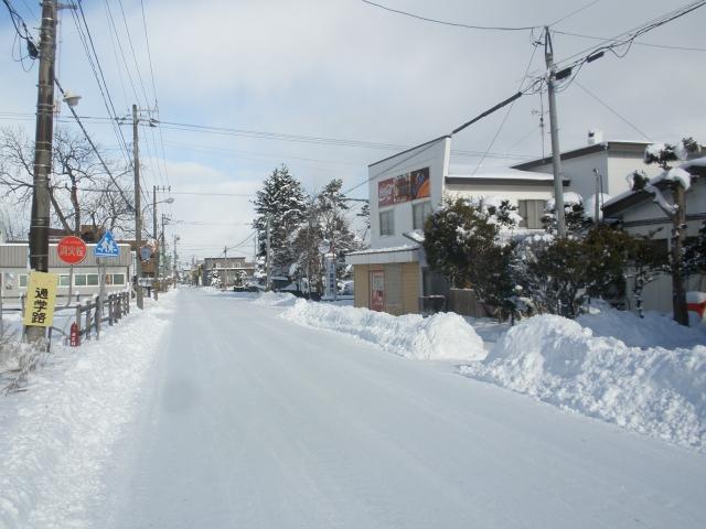 雪の積もった街